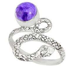 3.01cts natural purple charoite (siberian) 925 silver snake ring size 9.5 r82569