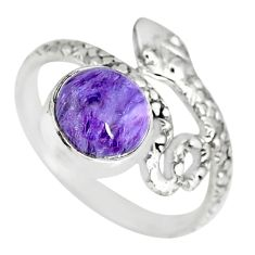 3.29cts natural purple charoite (siberian) 925 silver snake ring size 7.5 r82574