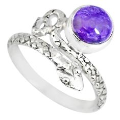 3.30cts natural purple charoite (siberian) 925 silver snake ring size 8.5 r82576