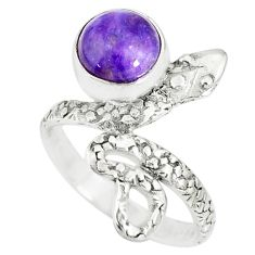 2.93cts natural purple charoite (siberian) 925 silver snake ring size 6 r78608