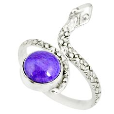 3.26cts natural purple charoite (siberian) 925 silver snake ring size 8 r78641
