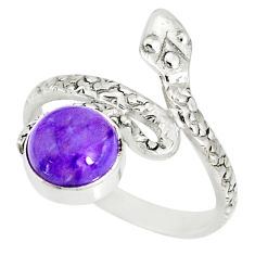 3.26cts natural purple charoite (siberian) 925 silver snake ring size 9 r78622