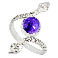 3.50cts natural purple charoite (siberian) 925 silver snake ring size 9 r78690