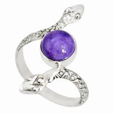 3.32cts natural purple charoite (siberian) 925 silver snake ring size 9 r78708