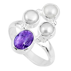 4.93cts natural purple charoite (siberian) pearl 925 silver ring size 7.5 r57553