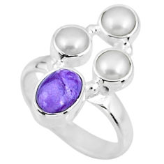 4.69cts natural purple charoite (siberian) pearl 925 silver ring size 6 r57550