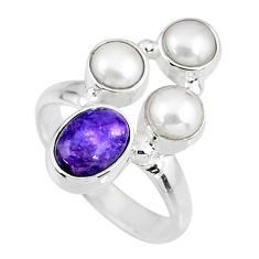 4.93cts natural purple charoite (siberian) pearl 925 silver ring size 6 r57632