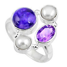 6.70cts natural purple charoite (siberian) pearl 925 silver ring size 7 r57548