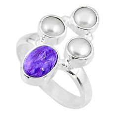 4.69cts natural purple charoite (siberian) pearl 925 silver ring size 7 r57549