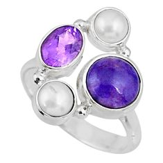 5.36cts natural purple charoite (siberian) pearl 925 silver ring size 7 r57622