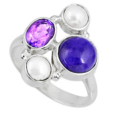 7.04cts natural purple charoite (siberian) pearl 925 silver ring size 8 r57581