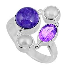 6.95cts natural purple charoite (siberian) pearl 925 silver ring size 8 r57583