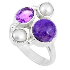 6.28cts natural purple charoite (siberian) pearl 925 silver ring size 8 r57601