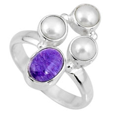 4.86cts natural purple charoite (siberian) pearl 925 silver ring size 8 r57609