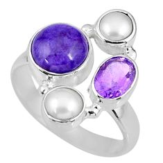 7.39cts natural purple charoite (siberian) pearl 925 silver ring size 8 r58406