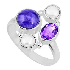 6.47cts natural purple charoite (siberian) pearl 925 silver ring size 9 r57576