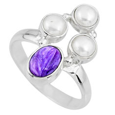 4.92cts natural purple charoite (siberian) pearl 925 silver ring size 9 r57585