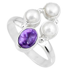 4.92cts natural purple charoite (siberian) pearl 925 silver ring size 9 r57608