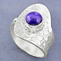 2.55cts natural purple charoite (siberian) silver adjustable ring size 8 r63250