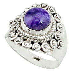 3.28cts natural purple charoite (siberian) silver solitaire ring size 7 r22057