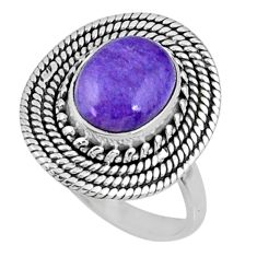 4.33cts natural purple charoite (siberian) silver solitaire ring size 8 r57511