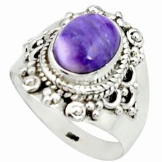 4.21cts natural purple charoite 925 silver solitaire ring size 8 r22049