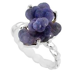 8.73cts natural purple grape chalcedony 925 silver solitaire ring size 7 r71648