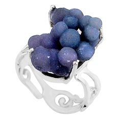 10.31cts natural purple grape chalcedony 925 silver solitaire ring size 7 r71668