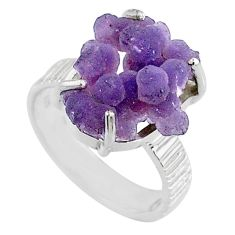 10.02cts natural purple grape chalcedony 925 silver solitaire ring size 7 r71670