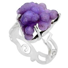 9.61cts natural purple grape chalcedony 925 silver solitaire ring size 8 r71641