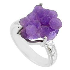 10.78cts natural purple grape chalcedony 925 silver solitaire ring size 8 r71642