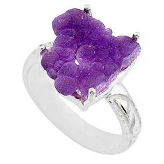 10.02cts natural purple grape chalcedony 925 silver solitaire ring size 8 r71653