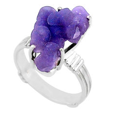 11.66cts natural purple grape chalcedony 925 silver solitaire ring size 8 r71654