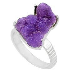 11.23cts natural purple grape chalcedony 925 silver solitaire ring size 8 r71659