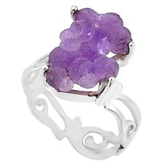9.18cts natural purple grape chalcedony 925 silver solitaire ring size 8 r71666