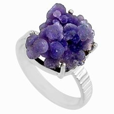 10.27cts natural purple grape chalcedony 925 silver solitaire ring size 8 r71671