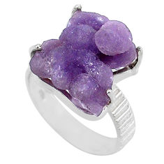 11.54cts natural purple grape chalcedony 925 silver solitaire ring size 8 r71672