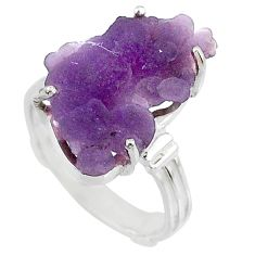 10.78cts natural purple grape chalcedony 925 silver solitaire ring size 8 r71673