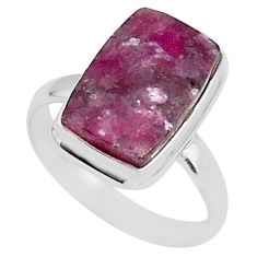 7.66cts natural purple lepidolite 925 silver solitaire ring size 10 t1485