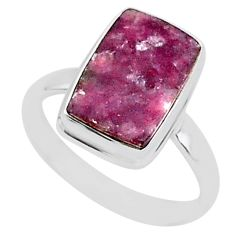 7.63cts natural purple lepidolite 925 silver solitaire ring size 11 t1491