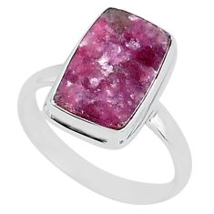 8.14cts natural purple lepidolite 925 silver solitaire ring size 12 t1490