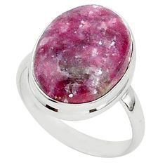 17.67cts natural purple lepidolite 925 silver solitaire ring size 12 t1538