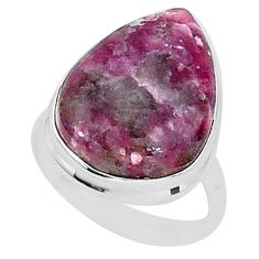 15.53cts natural purple lepidolite 925 silver solitaire ring size 9 t1493