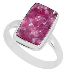 7.83cts natural purple lepidolite 925 silver solitaire ring size 12.5 t1483