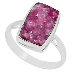 7.40cts natural purple lepidolite 925 silver solitaire ring size 12.5 t1488