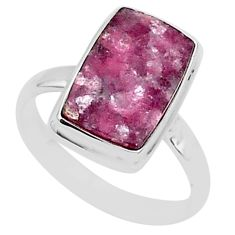 8.14cts natural purple lepidolite 925 silver solitaire ring size 11.5 t1489