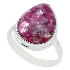 16.35cts natural purple lepidolite 925 silver solitaire ring size 12.5 t1494
