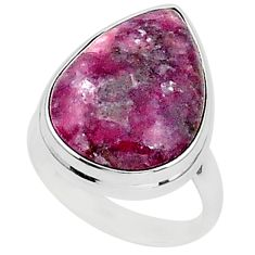 16.46cts natural purple lepidolite 925 silver solitaire ring size 8.5 t1495