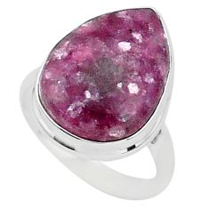 15.09cts natural purple lepidolite 925 silver solitaire ring size 10.5 t1499