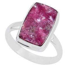 7.35cts natural purple lepidolite octagan silver solitaire ring size 10 t1487